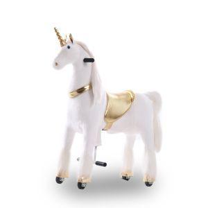 Kijana juguete de montar unicornio dorado grande