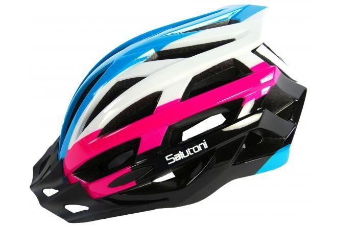 Salutoni casco de bicicleta para damas azul blanco y rosa 58-61 cm
