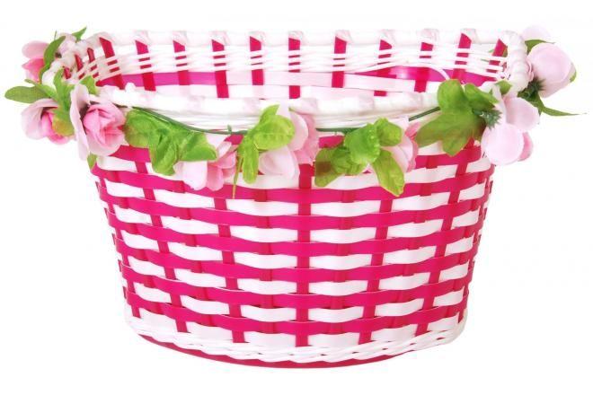 Volare cesta de bicicleta trenzada de flores para niña blanco / rosa