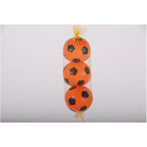 E&L Sports tres pelotas de plástico naranjas en red