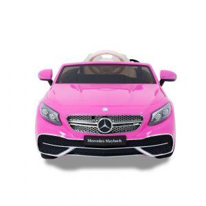 Mercedes Maybach S650 kinderauto roze vooraanzicht koplampen