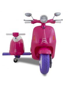Kijana scooter eléctrico para niños estilo Vespa con sidecar rosa